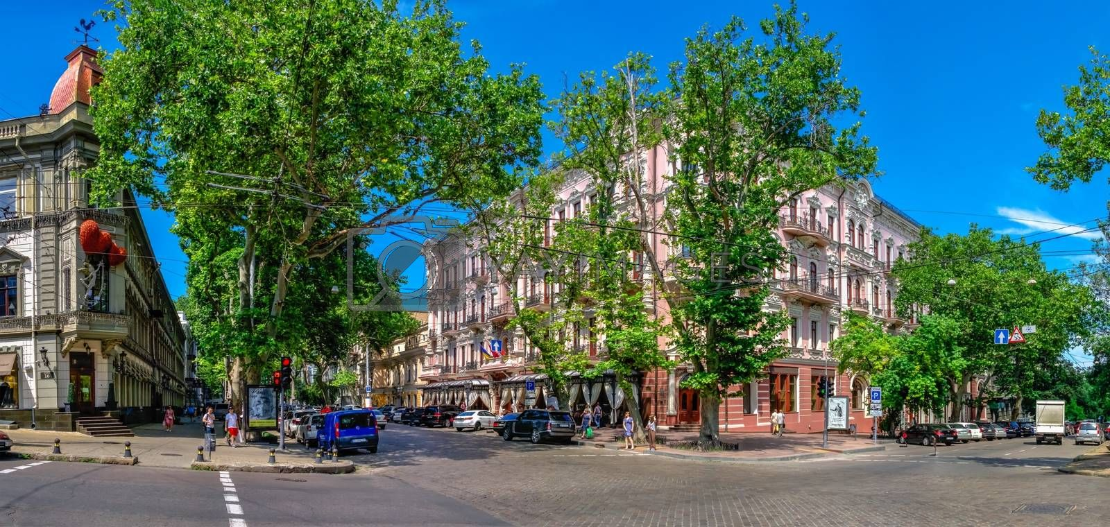 Odessa, Ukraine 06.23.2020. Luxury hotel Bristol in the historic center of the Odessa city on a sunny summer day