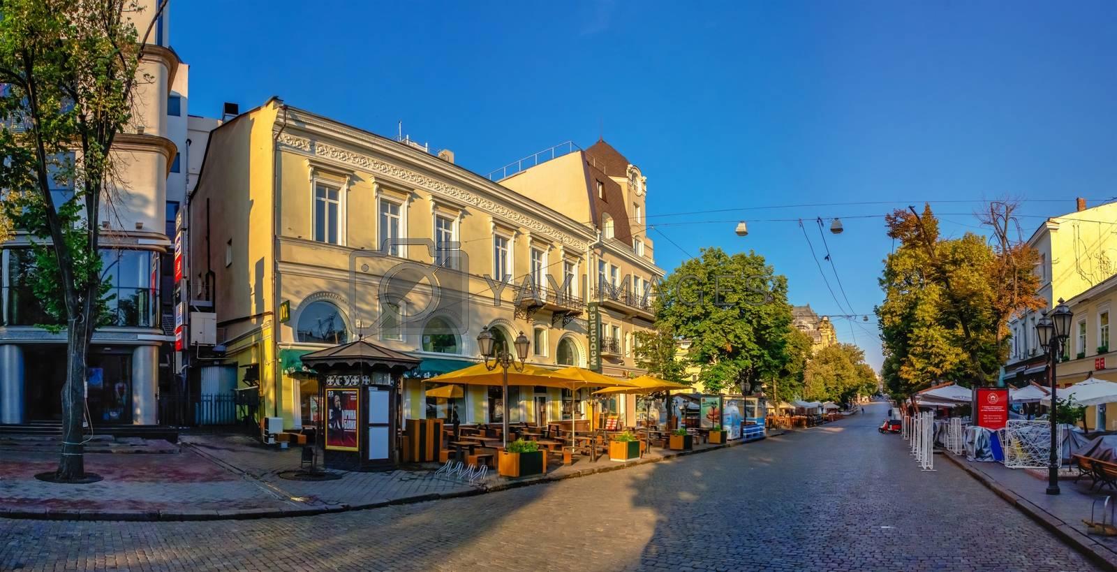 Odessa, Ukraine 06.30.2020. Deribasovskaya street in the historical center of Odessa, Ukraine, on a sunny summer morning
