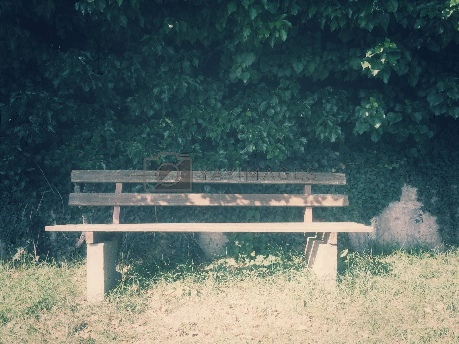 park bench idyll in vintage look