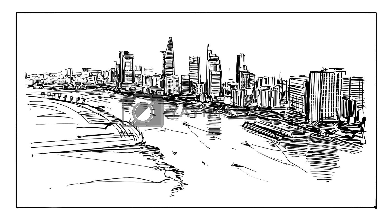 Drawing of the Ho Chi Minh cityscape
