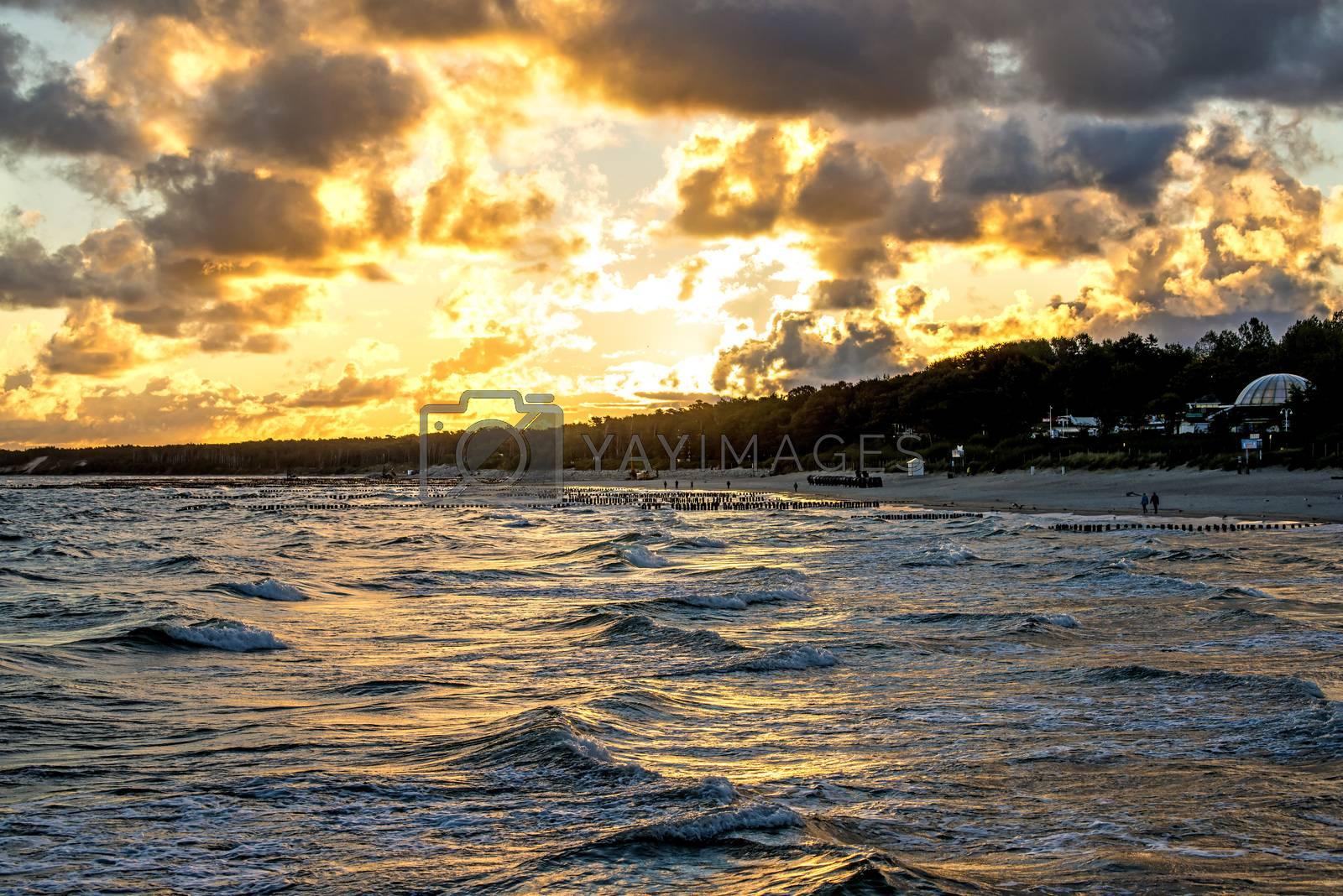 Baltic Sea in Poland, beach of Ustka during sunrise by Jochen