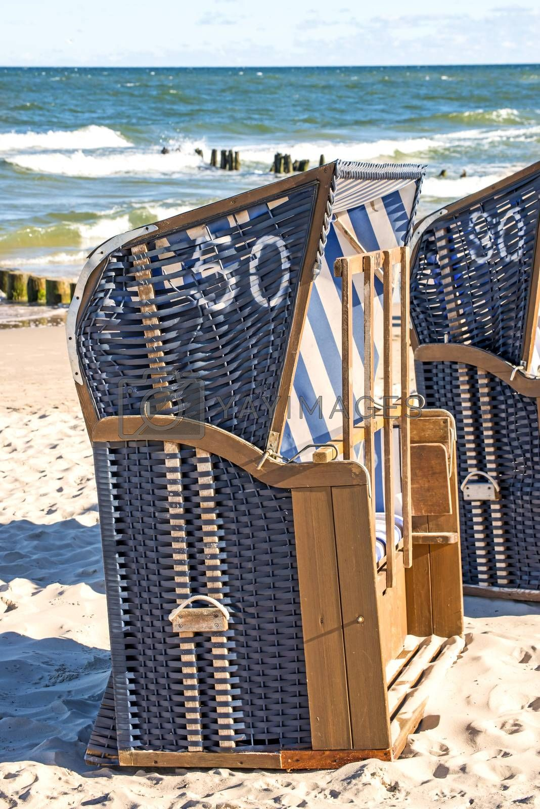 beach chairs at the Baltic Sea in Poland by bremse