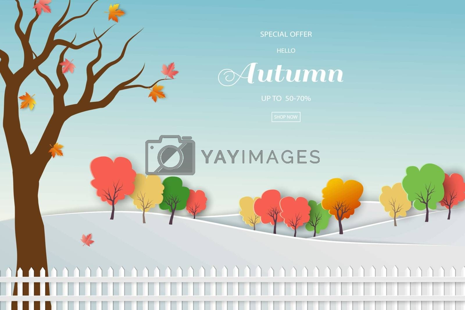 Autumn sale background with colorful leaves for shopping promotion,web banner or poster by PIMPAKA