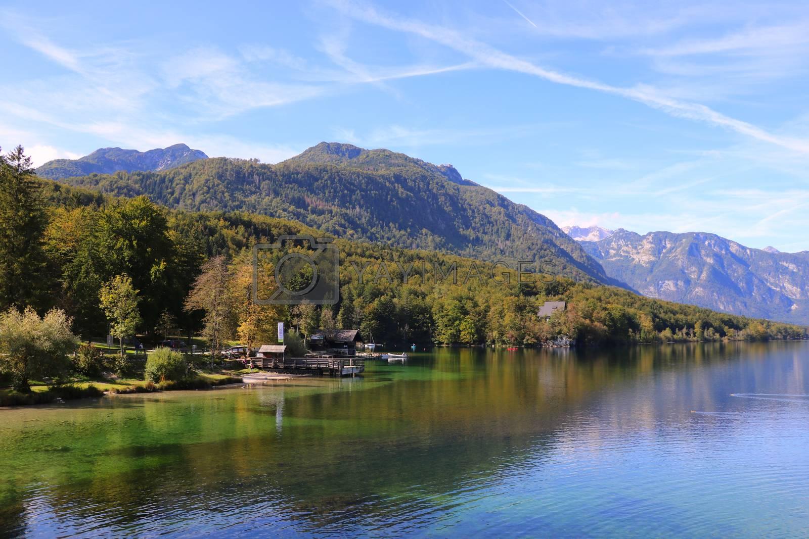 Bohinj lake shore with mountain views in Slovenia. by kip02kas