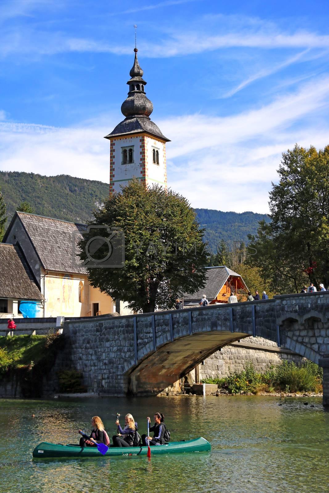Bohinj Lake, Church of St John the Baptist with bridge. by kip02kas