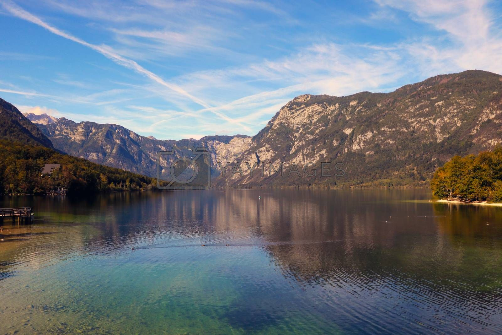 Beautiful Slovenian landscape Bohinj Lake, with turquoise water. by kip02kas