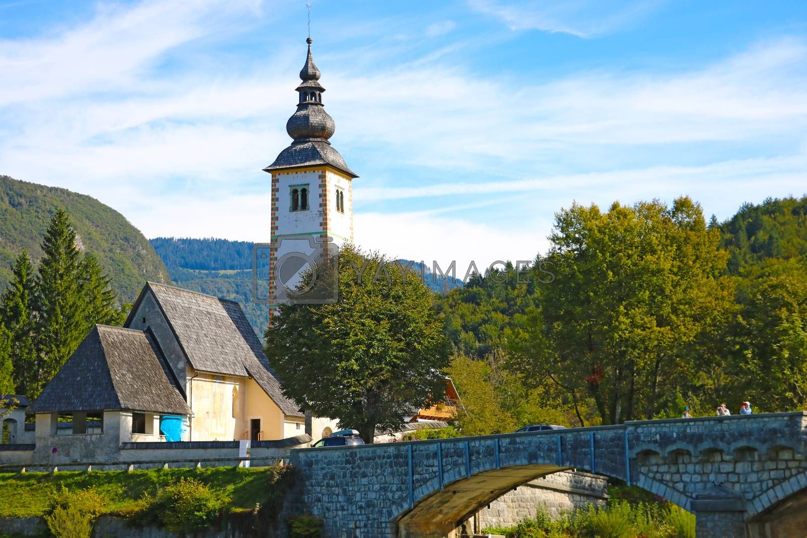Bohinj Lake, Church of St John the Baptist with bridge. by kip02kas