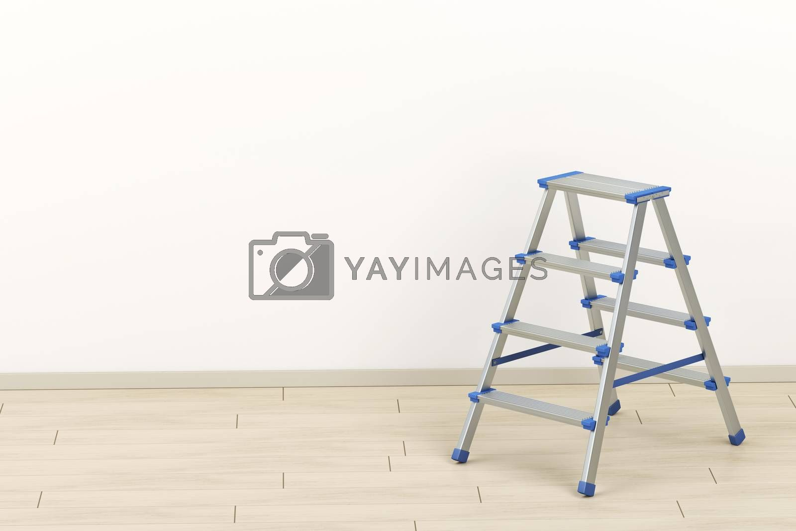Small aluminum ladder in the room