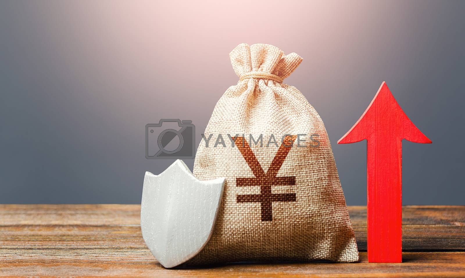 Yen Yuan sterling money bag with a shield and a red arrow up. Safety of investments, savings. Increasing the maximum amount of guaranteed insurance compensation for deposits. Financial stability.