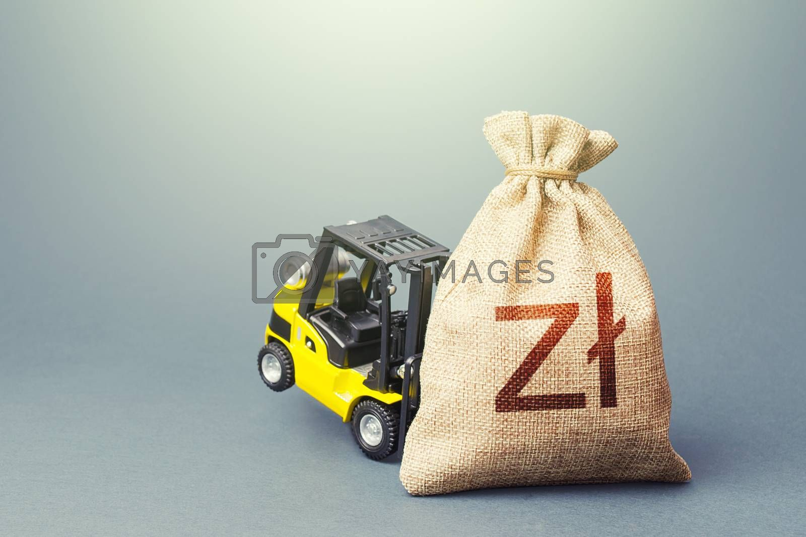 Yellow forklift unable to lift a polish zloty money bag. Strongest financial assistance, support of business and people. Interest rate. Stimulating economy. Helicopter money, subsidies soft loans.