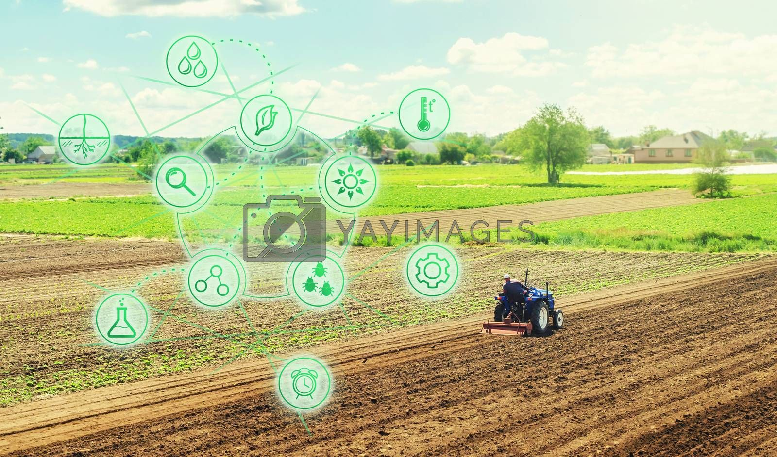 Futuristic innovative technology pictogram and a farmer on a tractor. Science of agronomy. Farming and agriculture startups. Improving efficiency. Technology Improvement in quality and yield growth. by iLixe48