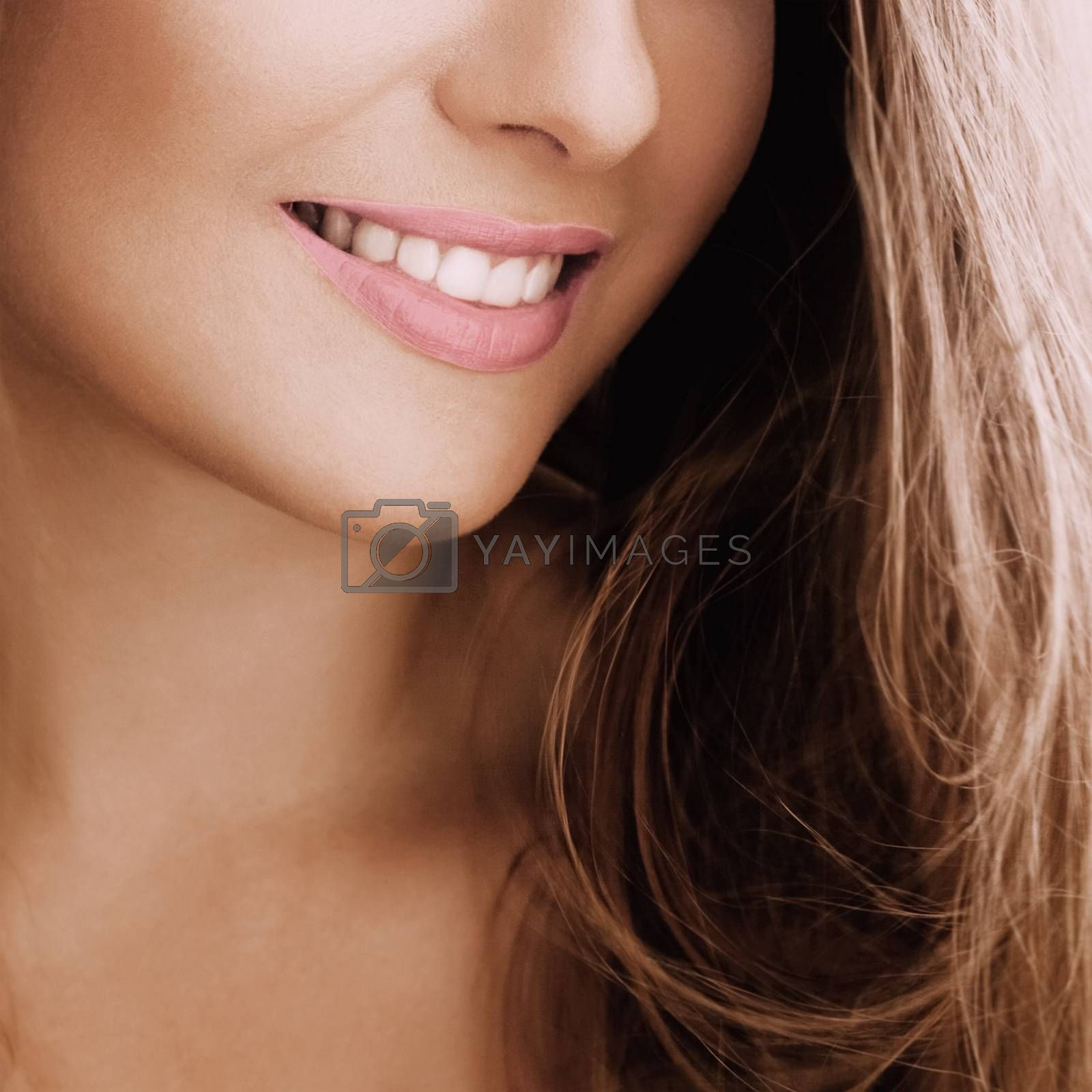 Healthy female smile with perfect natural white teeth, beauty face closeup of smiling young woman, bright lipstick makeup and clean skin for dental and healthcare brands