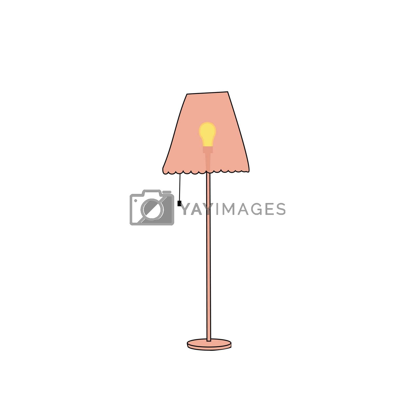 Yellow floor lamp on a white background.