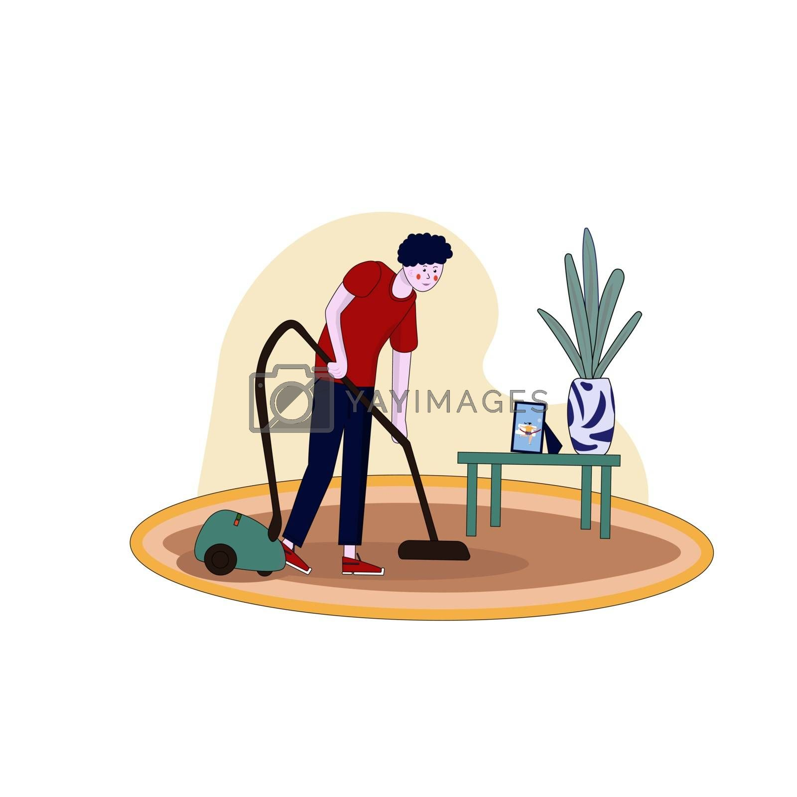 The man is vacuuming the carpet. Vector illustration in hand-drawn cartoon style