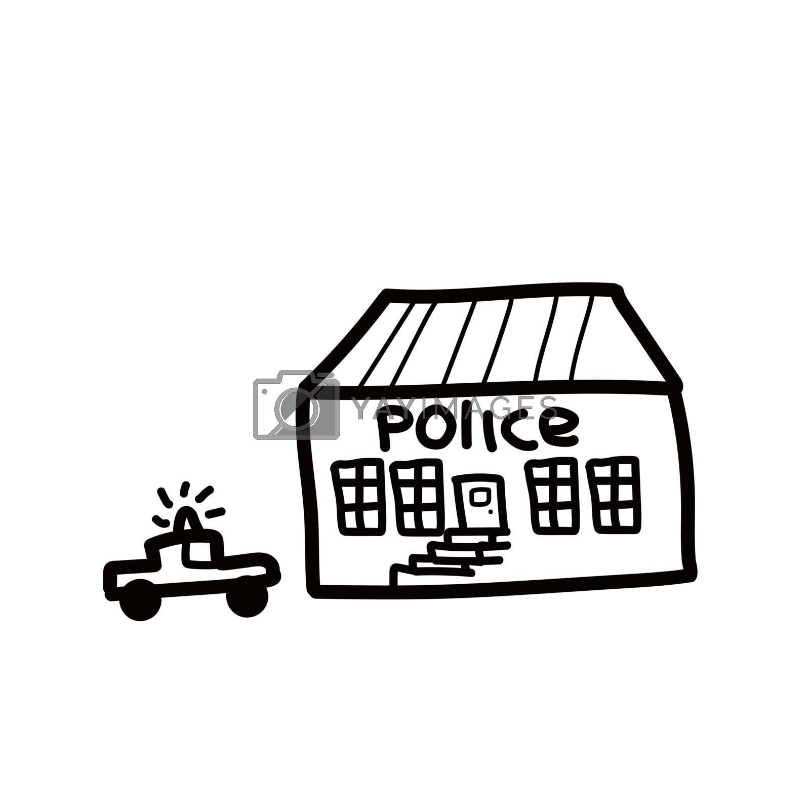 Police department building linear icon. Thin line illustration. Contour symbol. Vector isolated outline drawing. Editable stroke. In doodle style