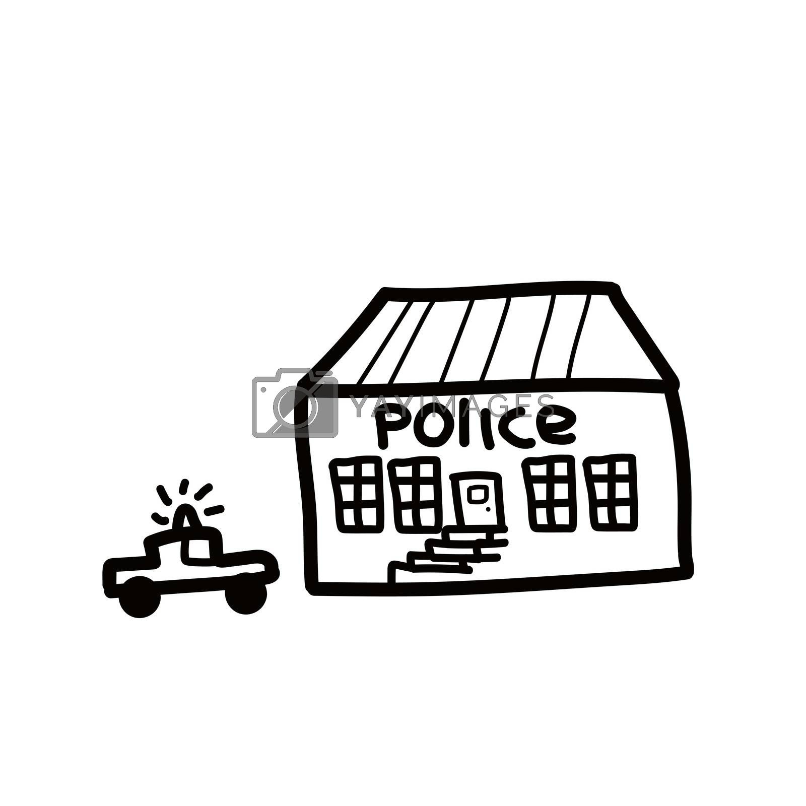 Police department building linear icon. Thin line illustration. Contour symbol. isolated outline drawing. Editable stroke. In doodle style