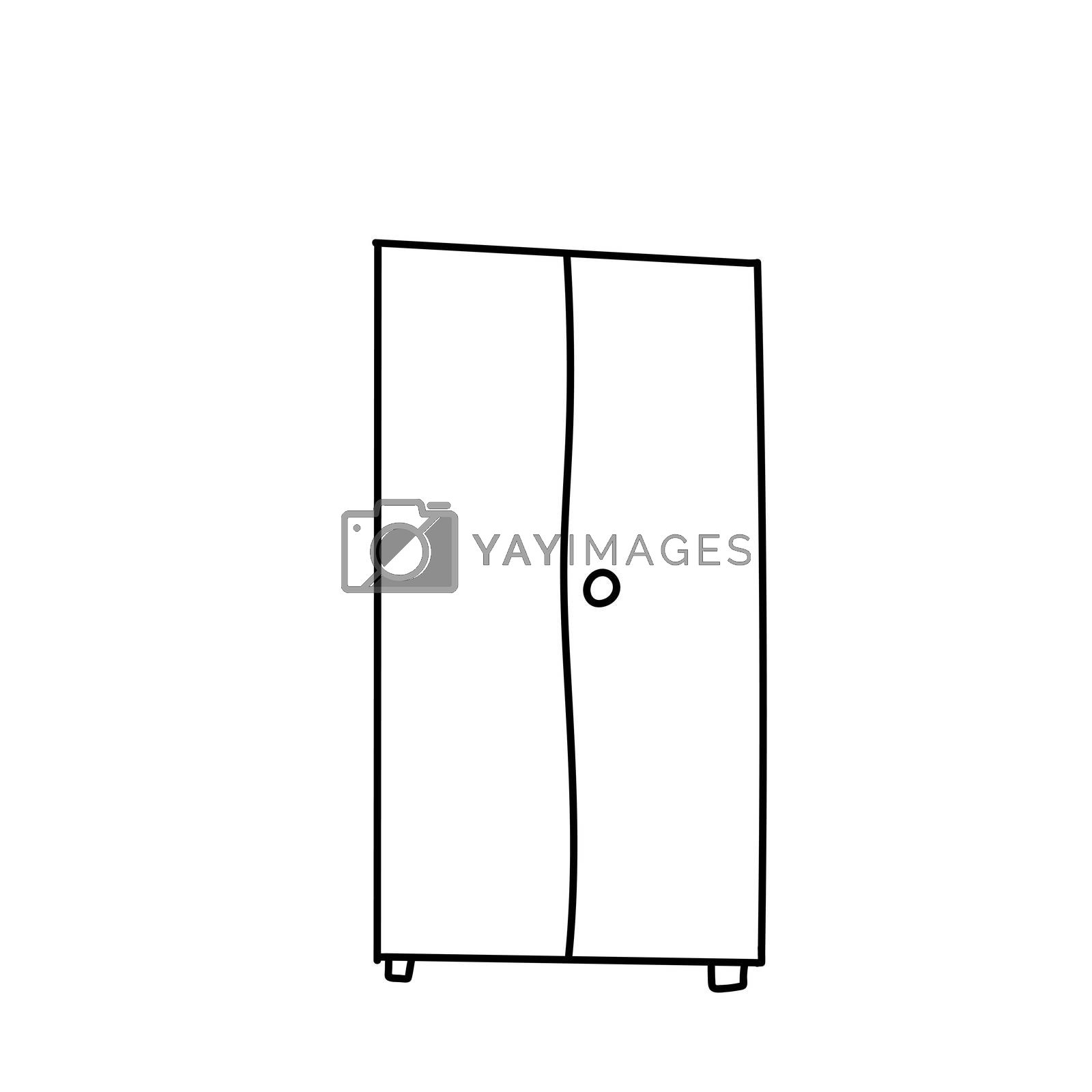 drawing of a bedside table with a large and small drawer. doodle style wardrobe. A linear pattern