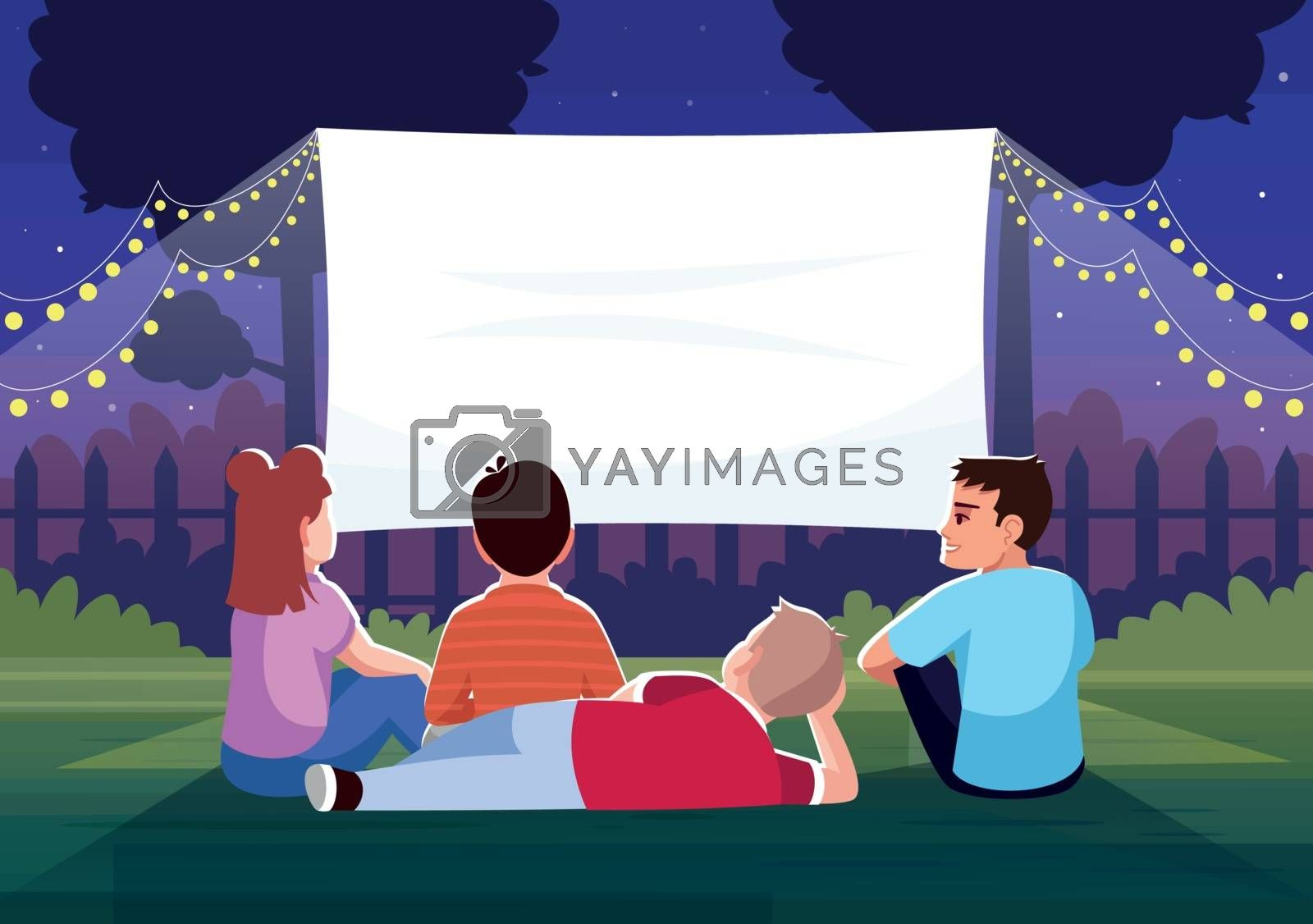 Backyard cinema for kids semi flat vector illustration. Teenagers watch film together. Large blank screen for movie night. Children outside 2D cartoon characters for commercial use