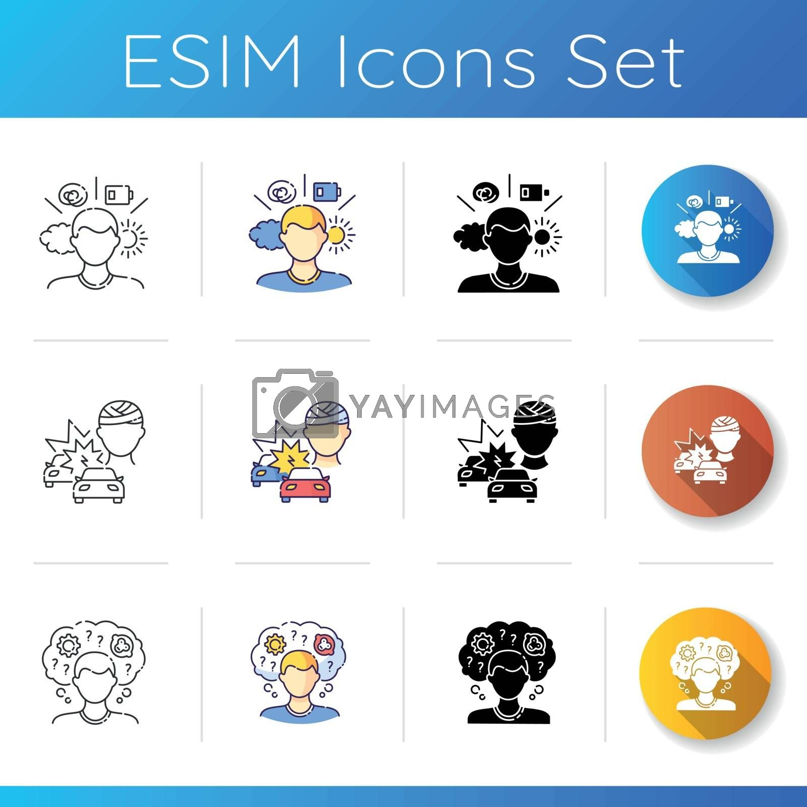 Mental problem icons set. Psychological condition. Halth care help with brain damage. Car collission trauma. Memory loss. Linear, black and RGB color styles. Isolated vector illustrations