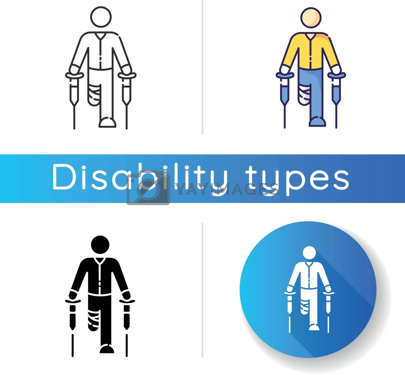 Leg amputee icon. Disabled man with crutches. Rehabilitation for handicapped person. Patient with bandaged impaired leg. Linear black and RGB color styles. Isolated vector illustrations