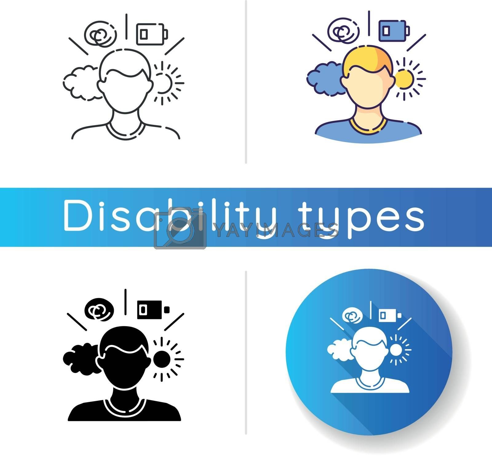 Mental health conditions icon. Psychological disorder. Psychotherapy for patient. Emotion expression change. Mood swings. Linear black and RGB color styles. Isolated vector illustrations