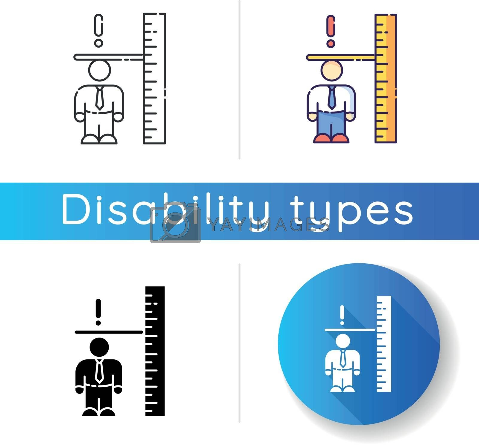 Dwarfism icon. Chronic genetic condition. Person with short height. Measure businessman. Inclusive workplace for handicapped person. Linear black and RGB color styles. Isolated vector illustrations