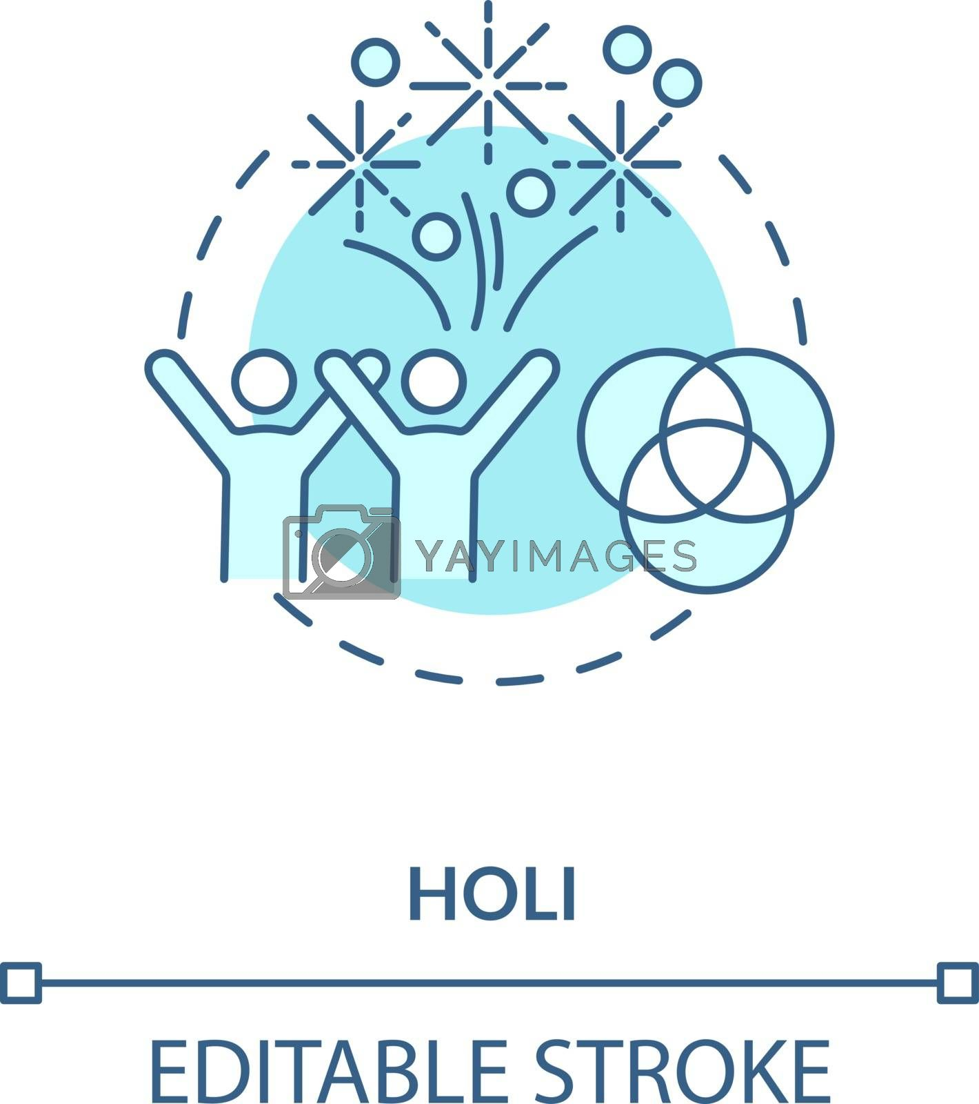Holi concept icon. National indian holiday, traditional hindu festival idea thin line illustration. Happy people and colorful gulaal vector isolated outline RGB color drawing. Editable stroke