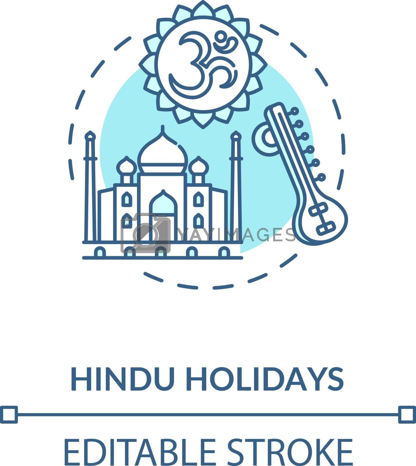 Hindu holidays concept icon. Indian religion, hinduism idea thin line illustration. Traditions of India. Taj Mahal and om sign vector isolated outline RGB color drawing. Editable stroke