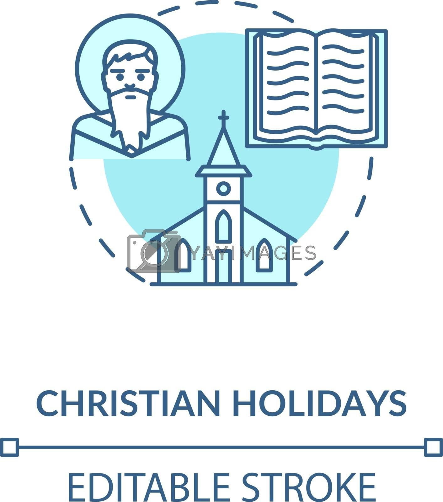 Christian holidays concept icon. Traditional religious events and festivals. Christianity idea thin line illustration. God, church and bible vector isolated outline RGB color drawing. Editable stroke