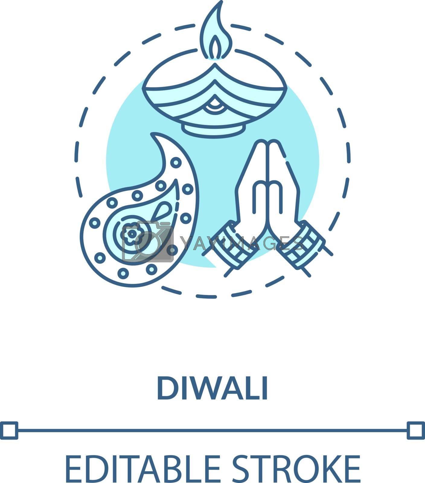 Diwali concept icon. National indian holiday, festival of lights idea thin line illustration. Deepavali celebration. Candle and rangoli vector isolated outline RGB color drawing. Editable stroke