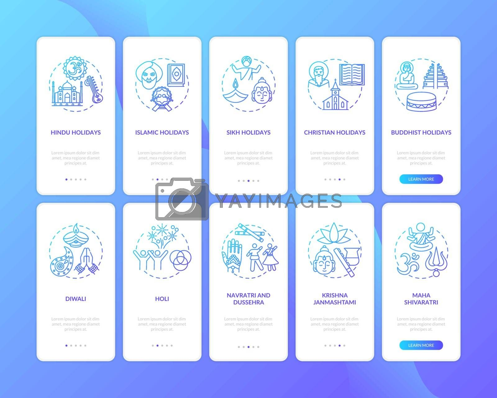 Indian holidays onboarding mobile app page screen with concepts set. Asian and islamic holidays. Holi. Walkthrough 5 steps graphic instructions. UI vector template with RGB color illustrations