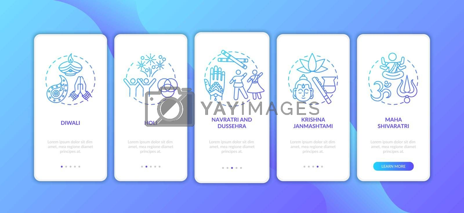 Top Hindu festivals onboarding mobile app page screen with concepts. Maha Shivaratri. Dussehra. Walkthrough 5 steps graphic instructions. UI vector template with RGB color illustrations