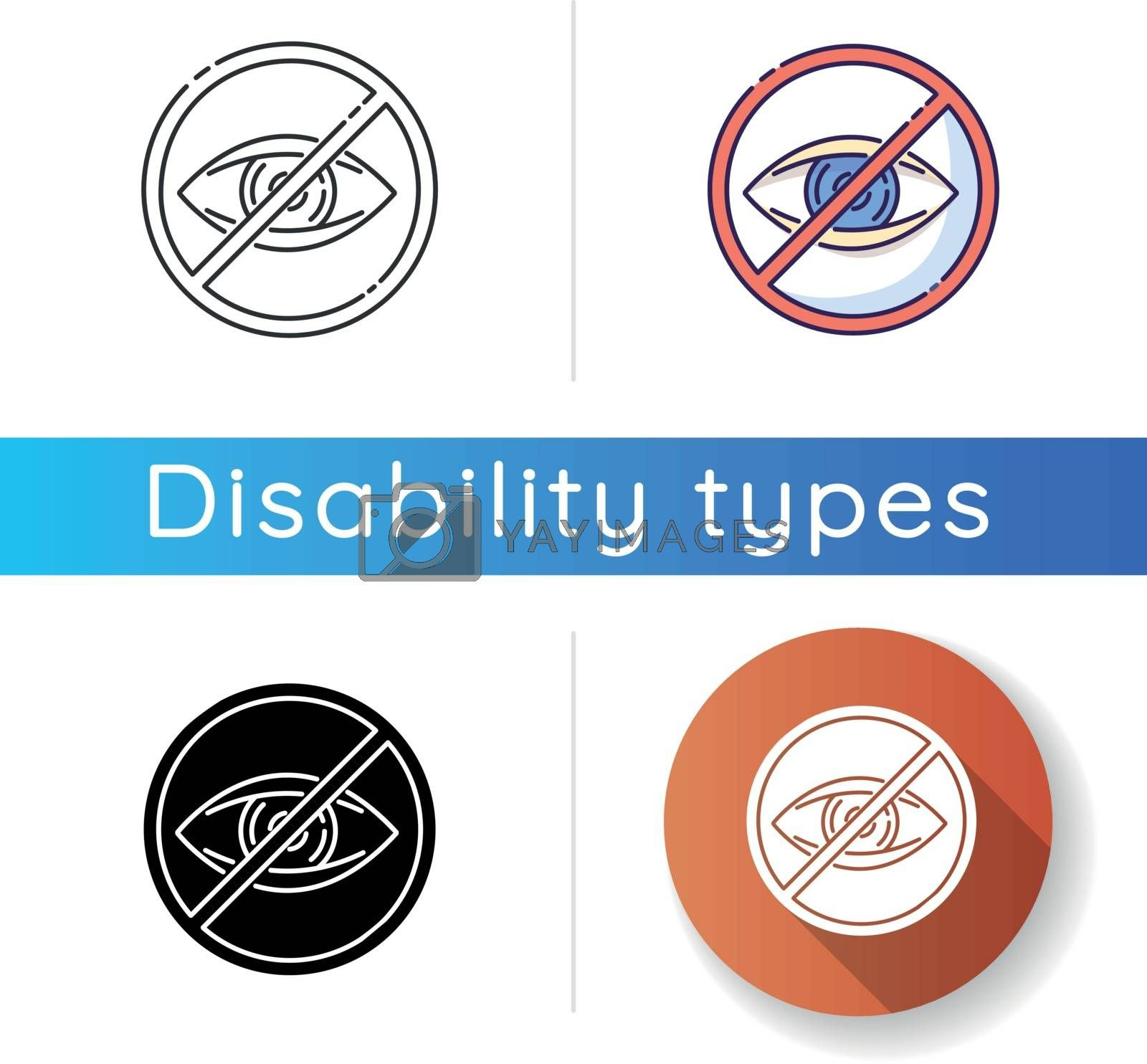 Blindness icon. Patient with lost eyesight. Legally blind. Vision impairment. Eye defect. Health care problem. Conceal sight. Linear black and RGB color styles. Isolated vector illustrations