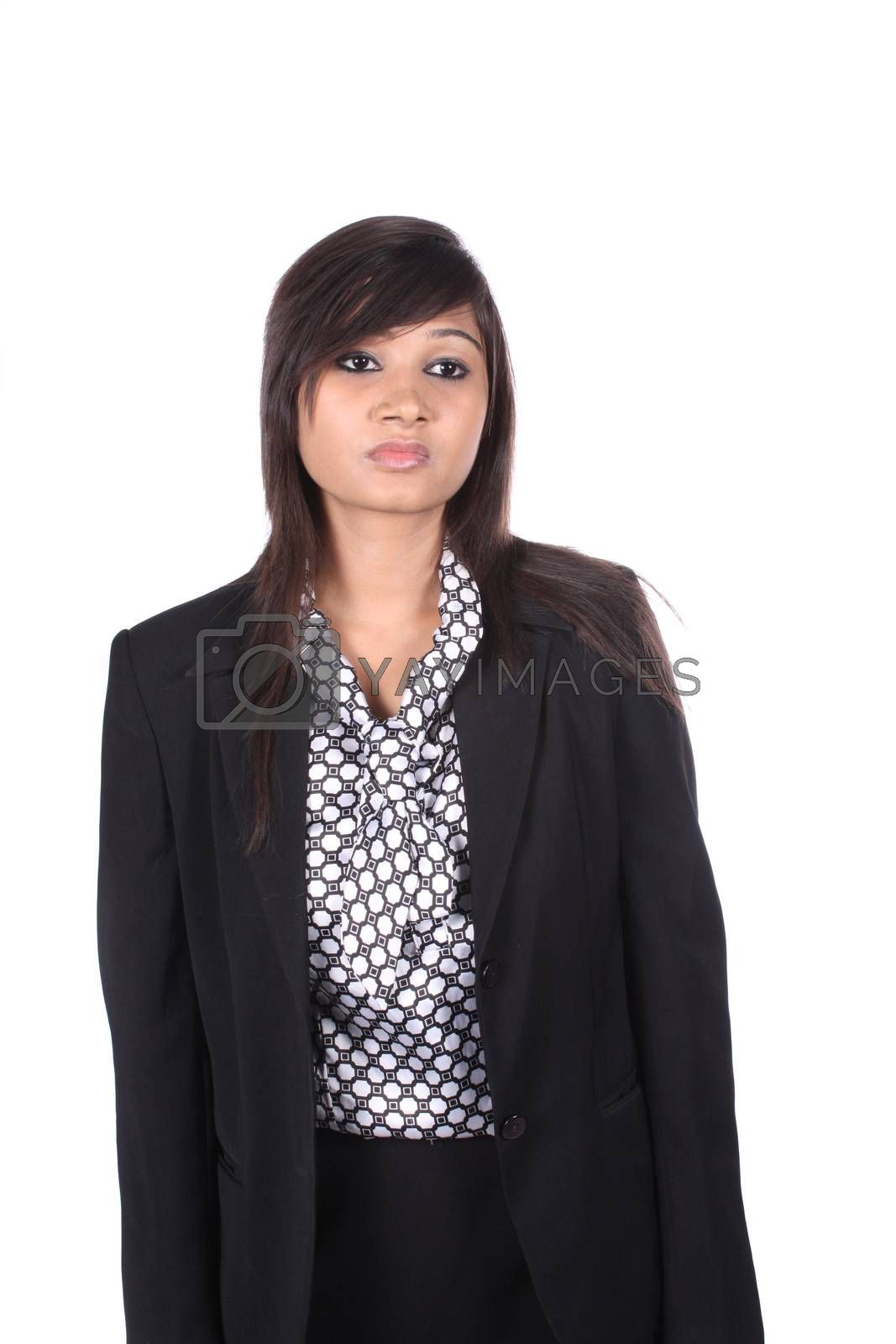 A young beautiful Indian business executive worried, on white studio background.