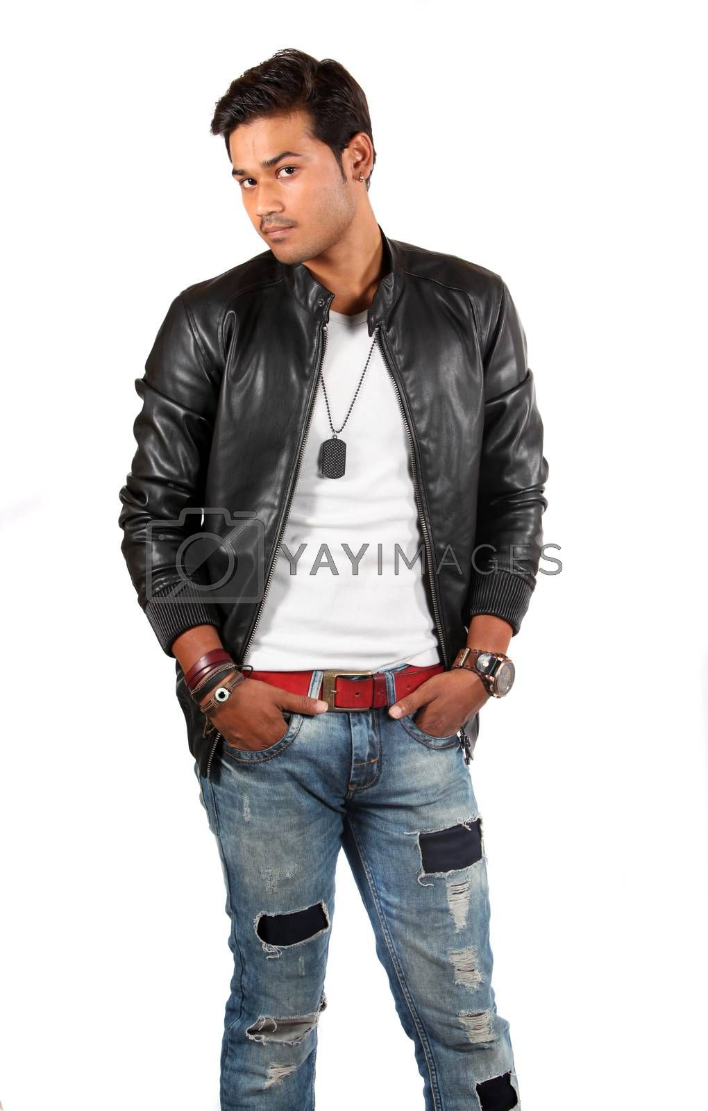 A smart handsome Indian model in leather jacket, on white studio background.