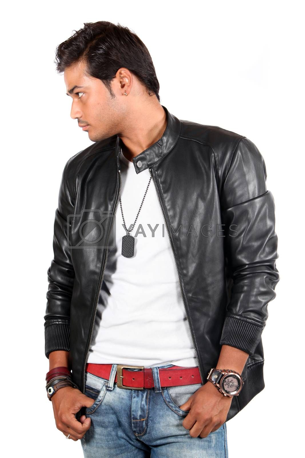 A young India male model posing in a leather jacket, on white studio background.