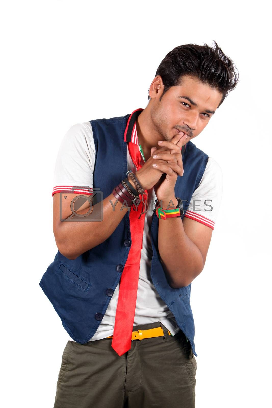 A stylish Indian young male model, on white studio background.