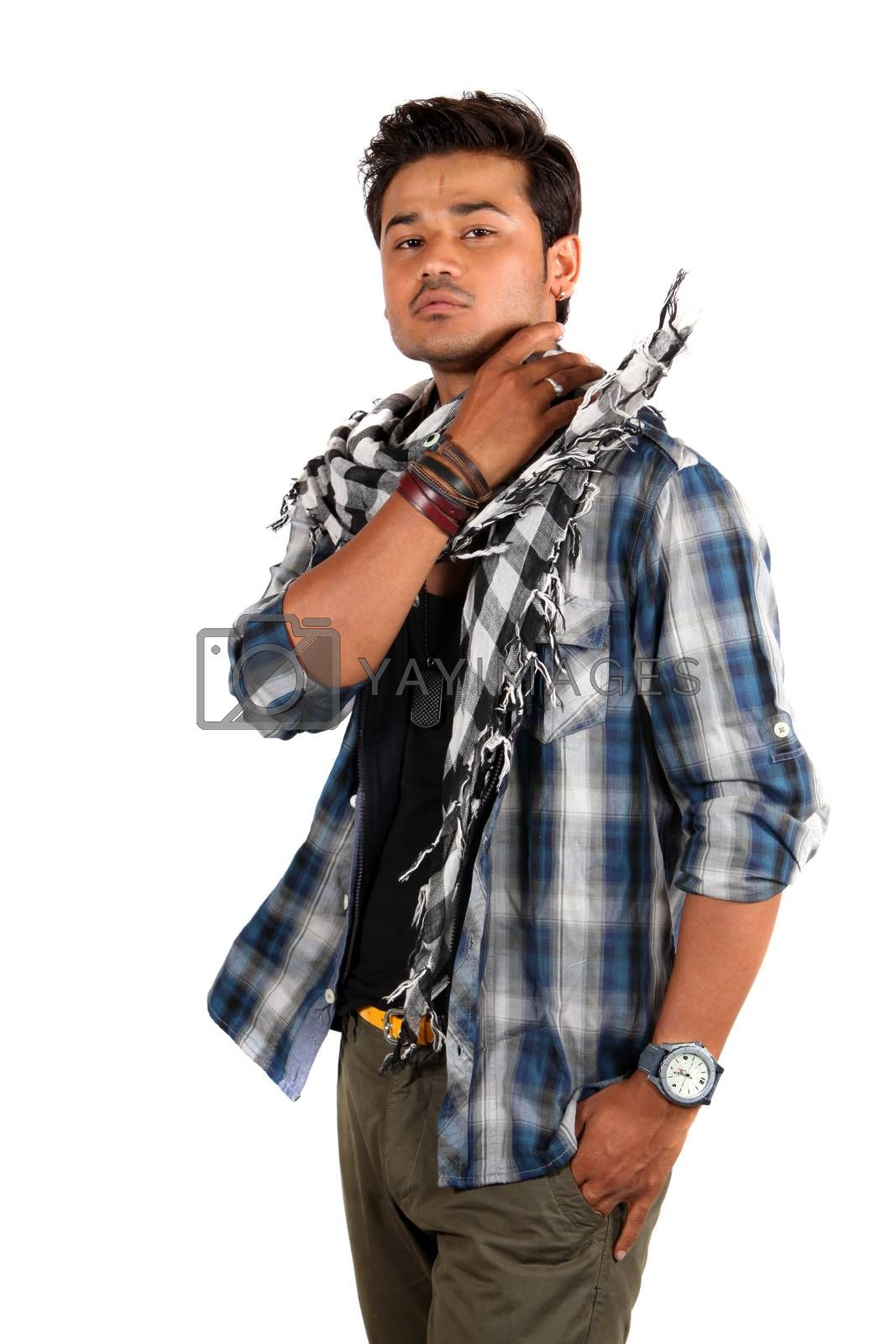 A young Indian model wearing his muffler in style, on white studio background.