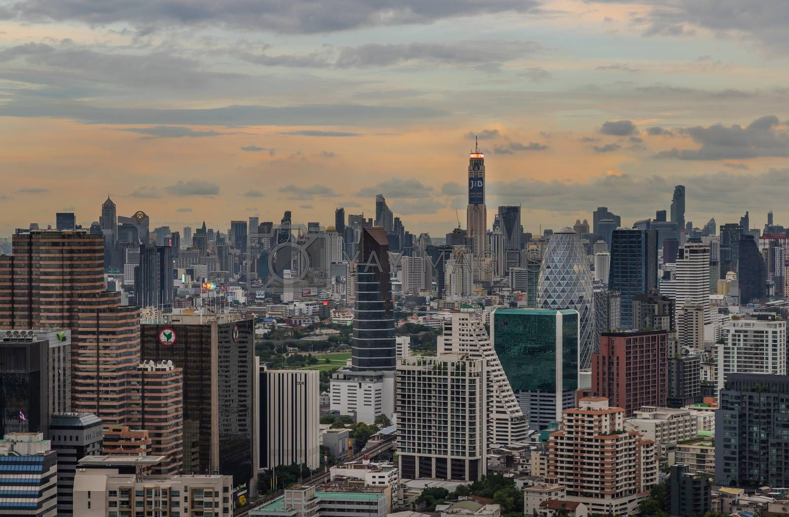 Bangkok, Thailand - Jul 25, 2020 : City view of Bangkok before the sunset creates energetic feeling to get ready for the day waiting ahead. Selective focus.