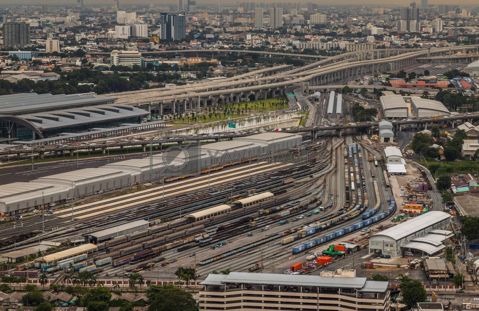 Aerial view of Bang Sue central station. by tosirikul