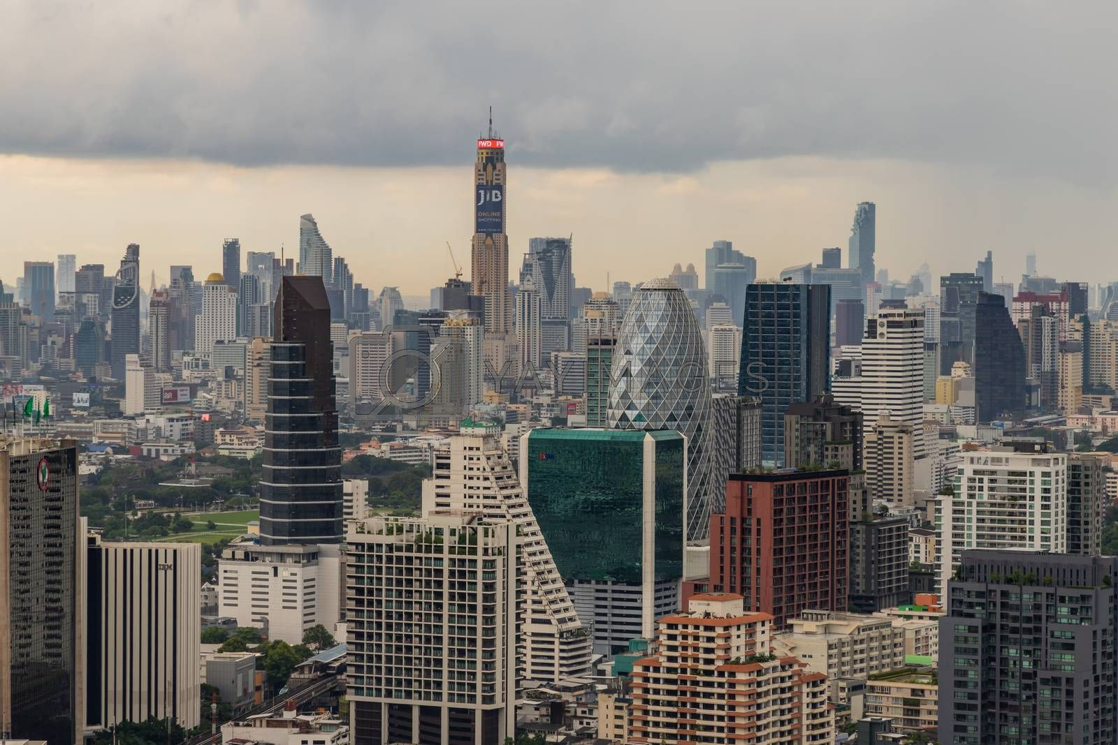 Bangkok, Thailand - Jul 25, 2020 : City view of Bangkok before the sun rises creates energetic feeling to get ready for the day waiting ahead. Selective focus.