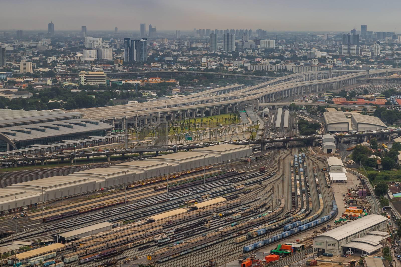 Bangkok, Thailand - Jul, 25, 2020 : Aerial view of Bang Sue central station, the new railway hub transportation building at bangkok. No focus, specifically.