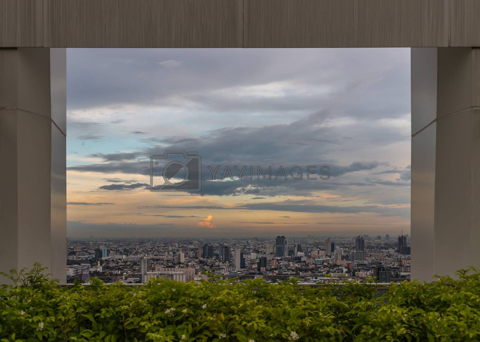 Bangkok, Thailand - Jul 25, 2020 : Skyline framed from beautiful cityscape before the sunset creates energetic feeling to get ready for the day waiting ahead. Selective focus.