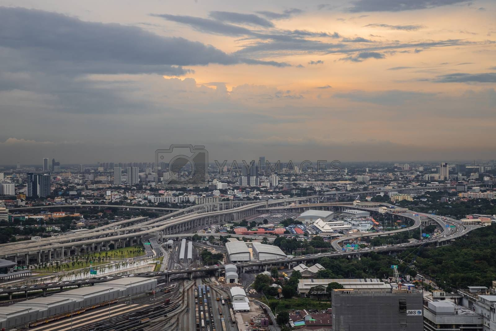 Bangkok, Thailand - Jul, 25, 2020 : Aerial view of Bang Sue central station, the new railway hub transportation building at evening. No focus, specifically.