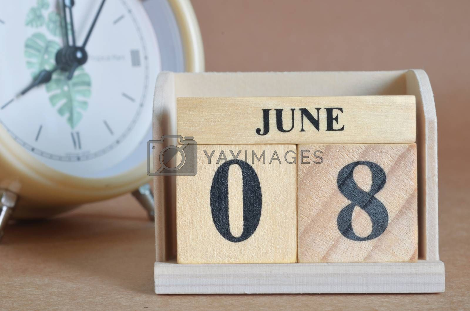 June 8, Cover design with clock in natural concept.