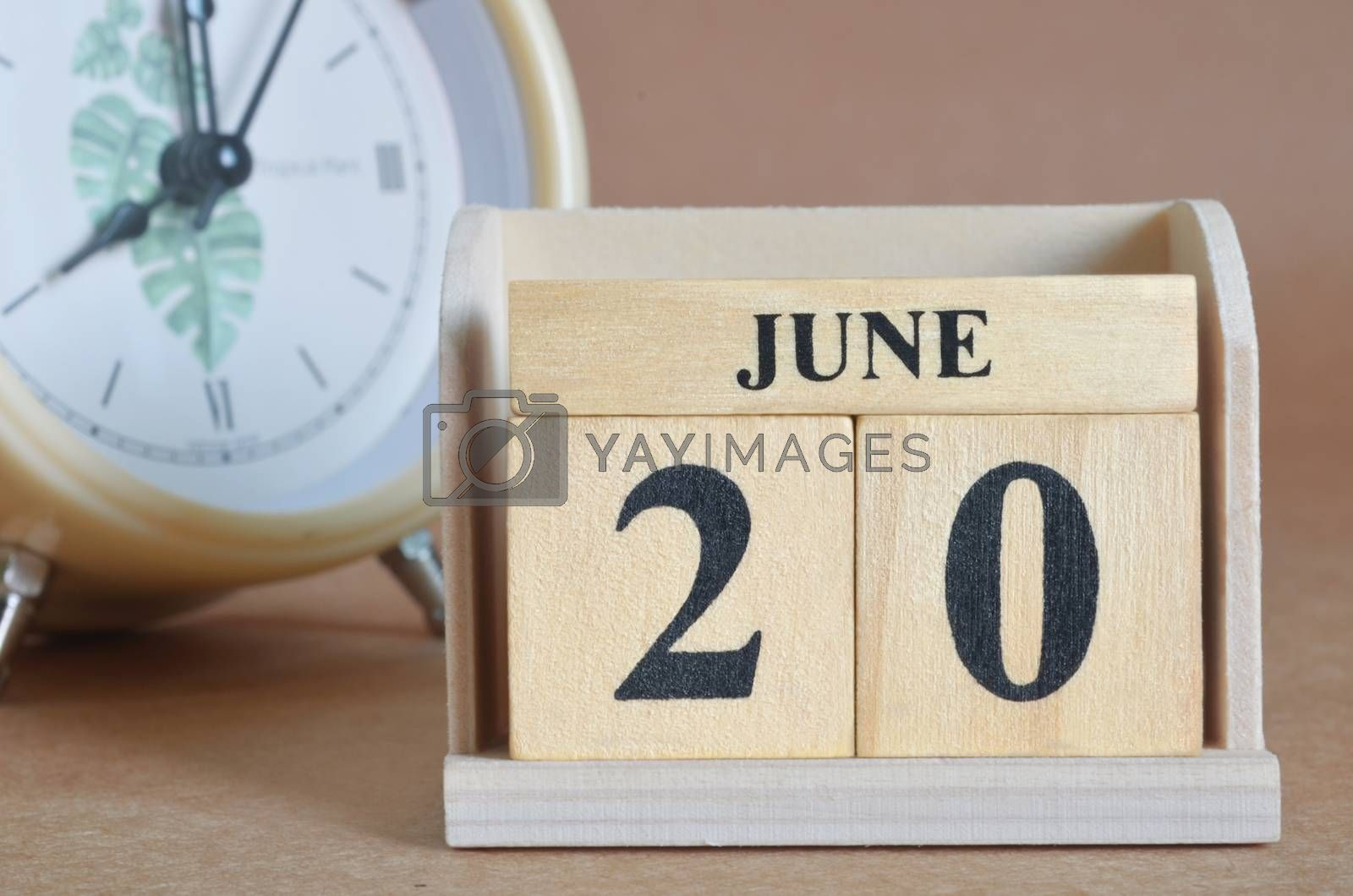 June 20, Cover design with clock in natural concept.