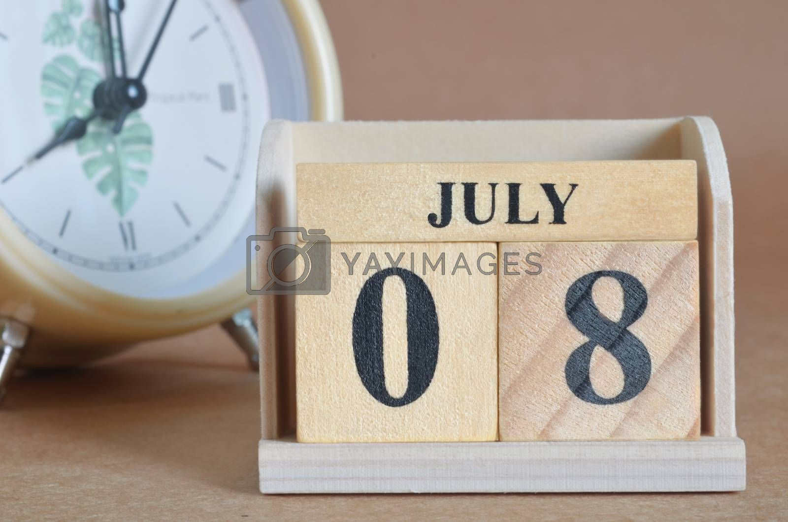 July 8, Cover design with clock in natural concept.