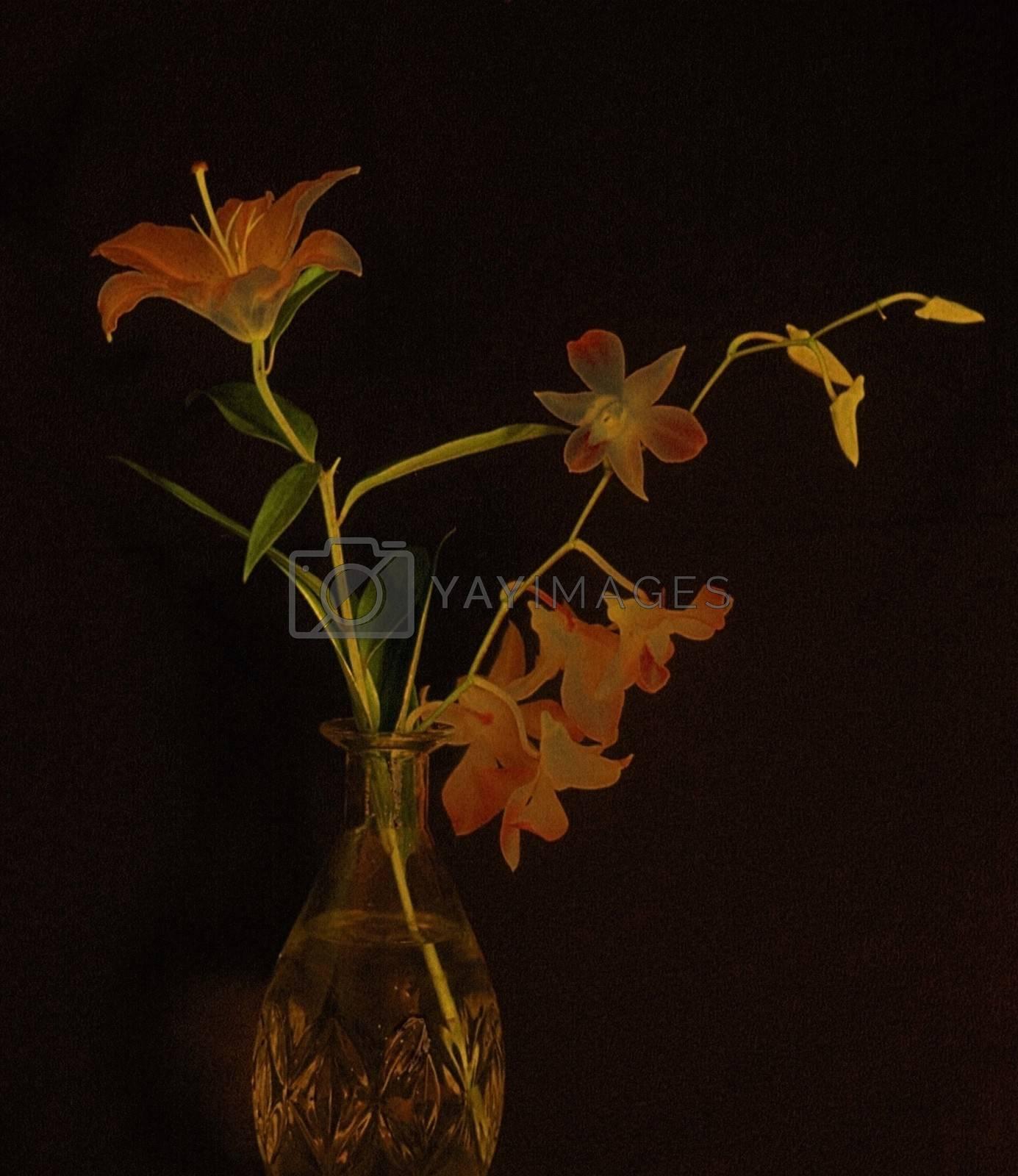 Flowers in vase. Black background