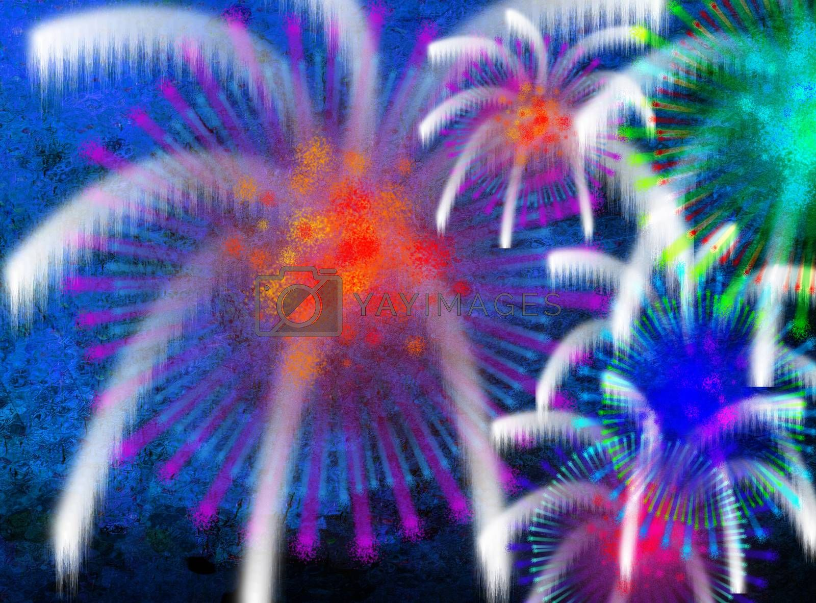 Abstract composition. Colorful fireworks. 3D rendering