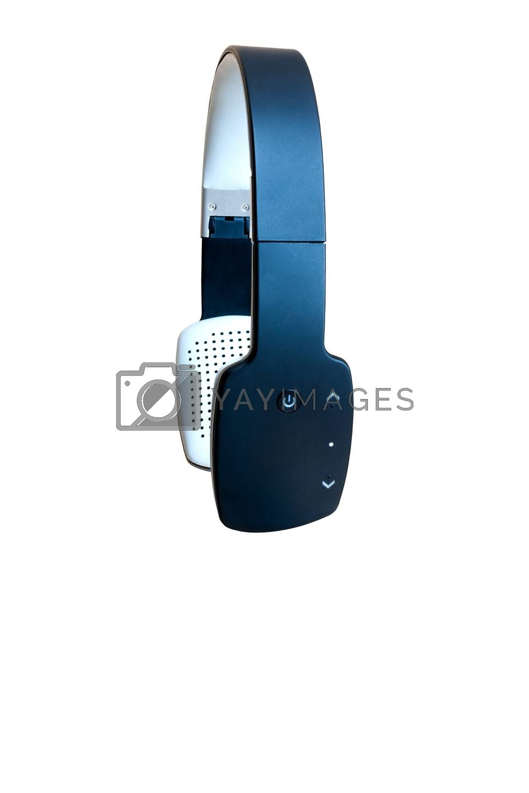 Bluetooth headphones isolated on white background with clipping path